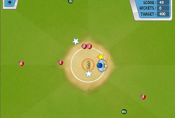 Center Batting cricket game: gameplay