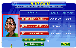 bowler selection screen